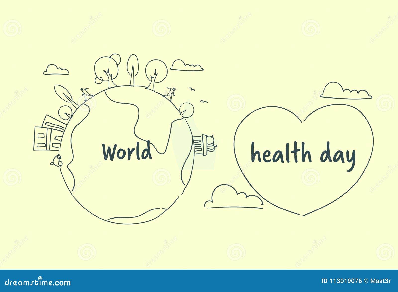 Weltgesundheits-Tagesfahne mit Skizzen-Erd-und Herz-Form auf weißem Hintergrund
