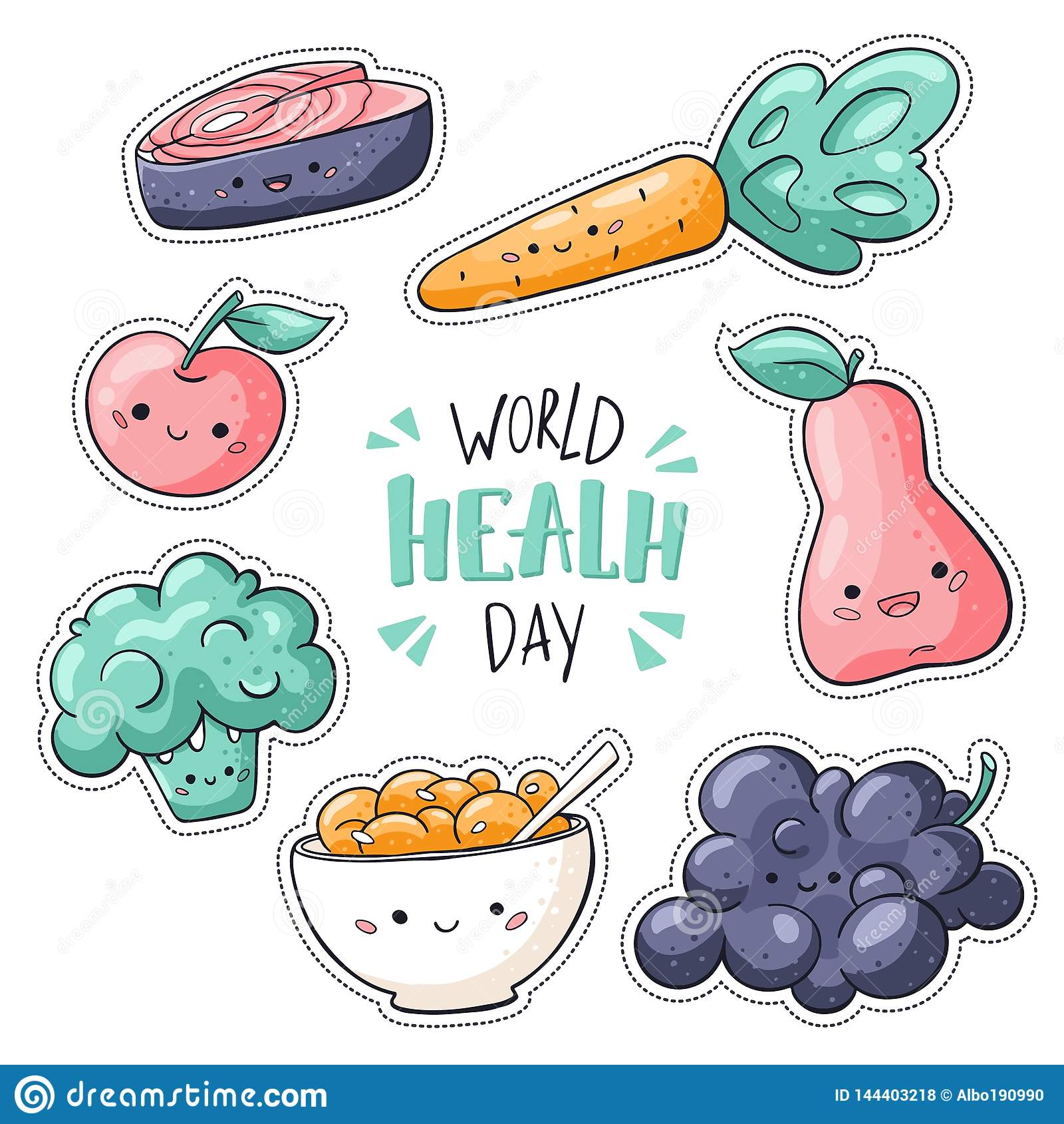 Weltgesundheitstagesaufkleber verpacken Weltgesundheitstageszeichen Gesunde Nahrungsmittelaufklebersammlung in der Gekritzelart:
