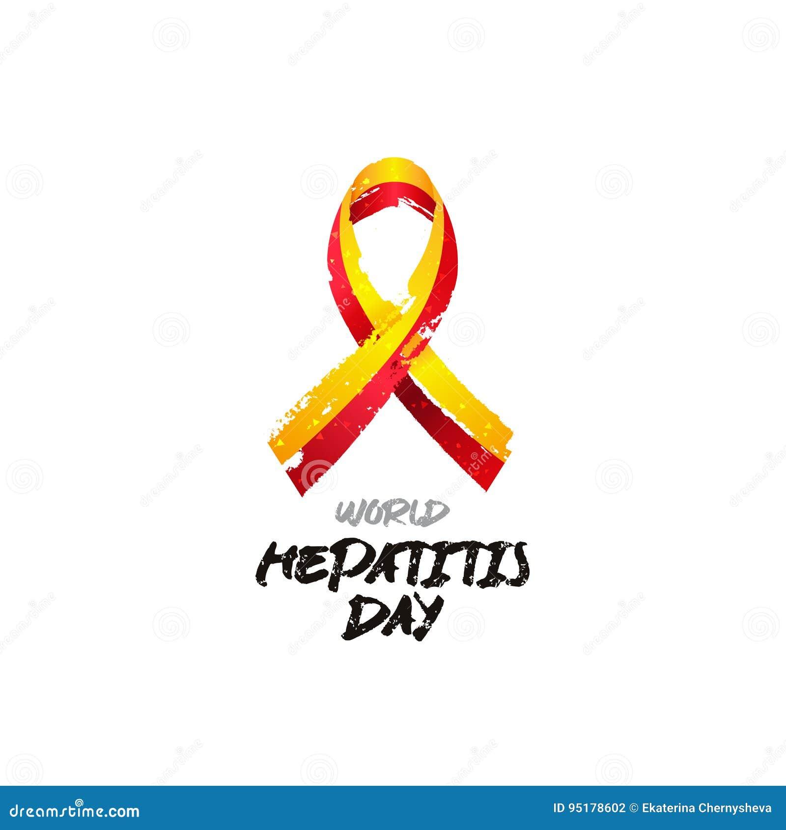 Welthepatitis-Tag Gelb-rotes Band Des Vektors Vektor Abbildung ...