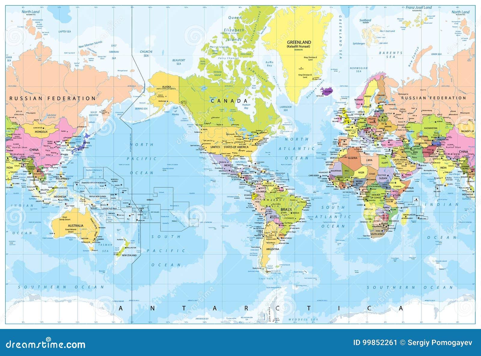 Weltkarte Amerika In Der Mitte Tiefenmessung Vektor Abbildung