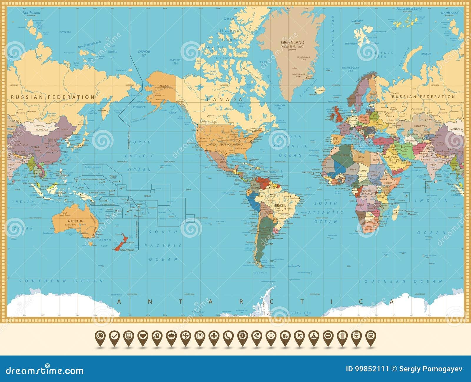 Weltkarte Amerika Zentriert Und Kartenzeiger Abstrakte Farbe