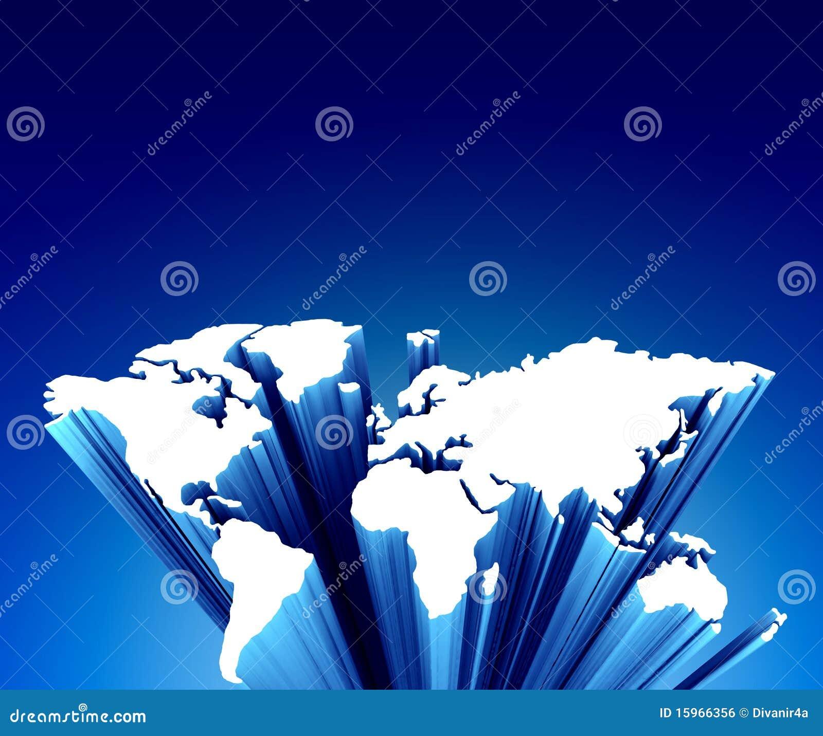 Weltkarte auf Blau