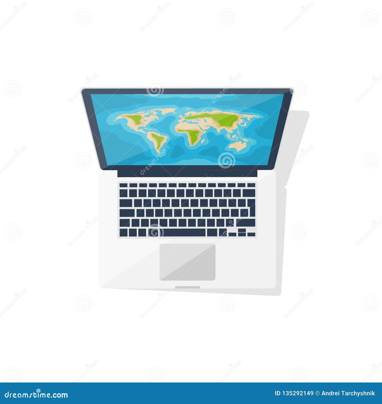 Weltkarte auf dem Computer Flache Art nearsighted Reise und Tourismus Roupe-Planung Auch im corel abgehobenen Betrag