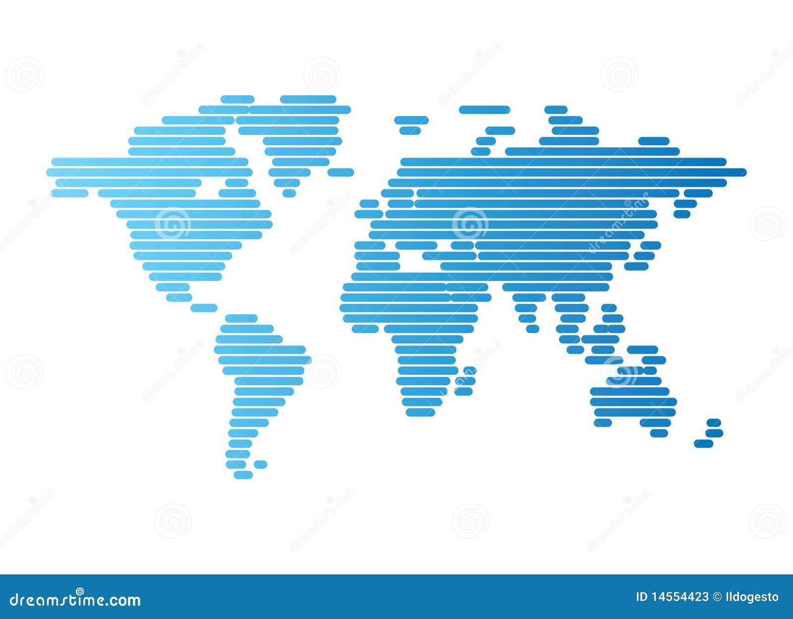 Weltkarte der blauen aufgerundeten Zeilen