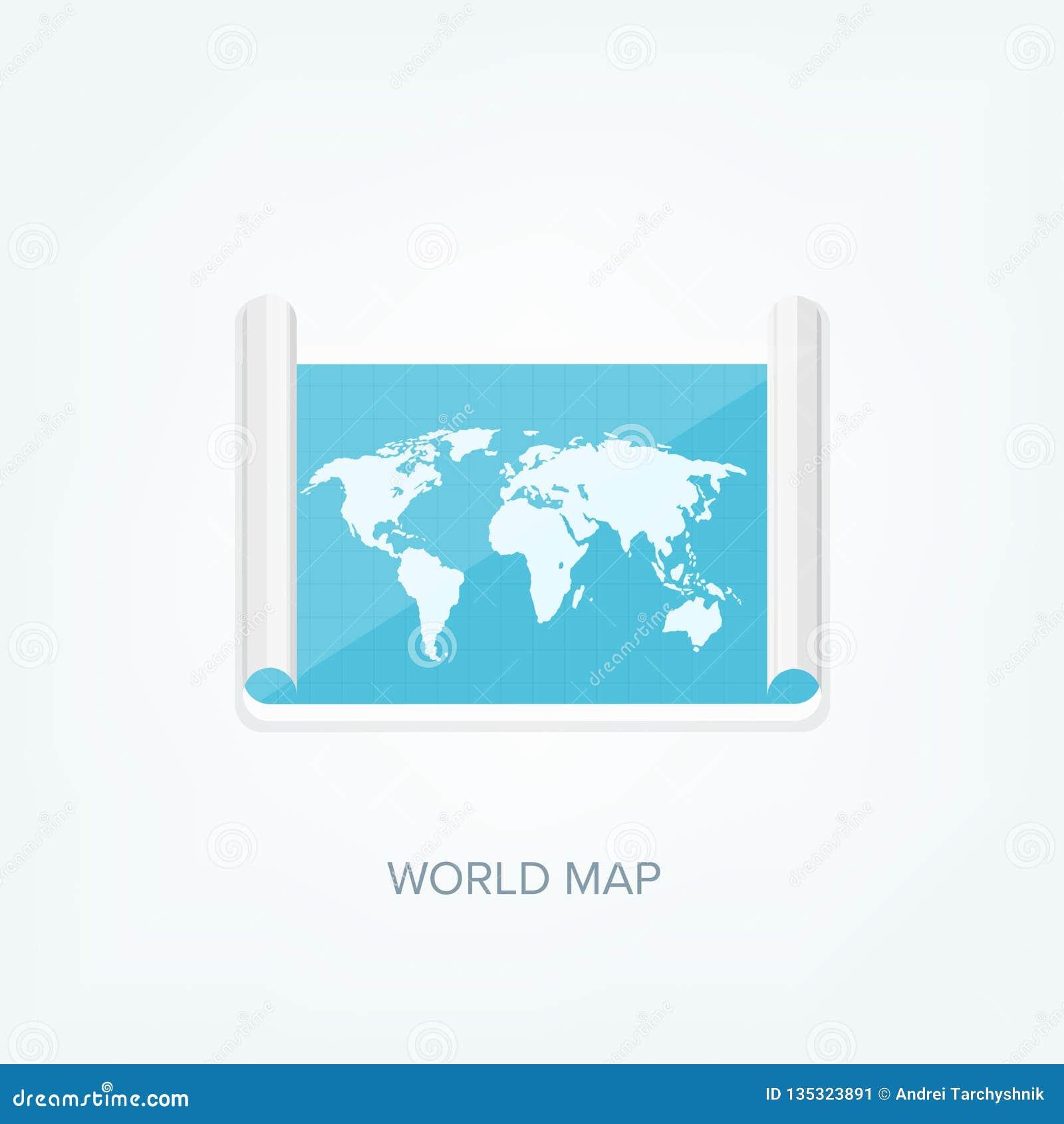 Weltkarte in einer flachen Art Erde, Kugel nearsighted Weg und Bestimmungsort ikone