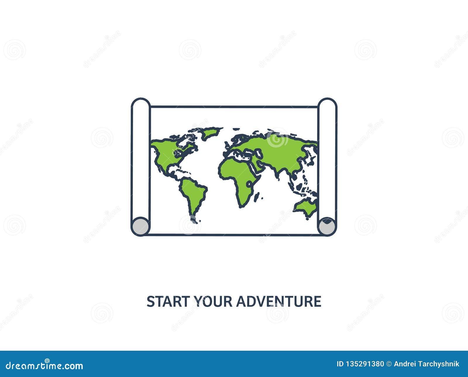 Weltkarte in einer flachen Art Erde, Kugel nearsighted Weg und Bestimmungsort ikone Linie Kunst gezeichnet