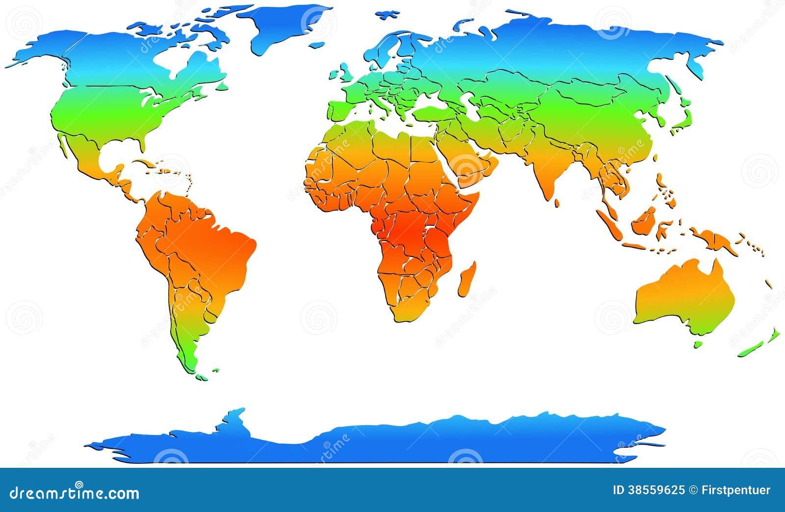 Weltkarte farbige kontinente auf wei lizenzfreies - Weltkarte mit fotos ...