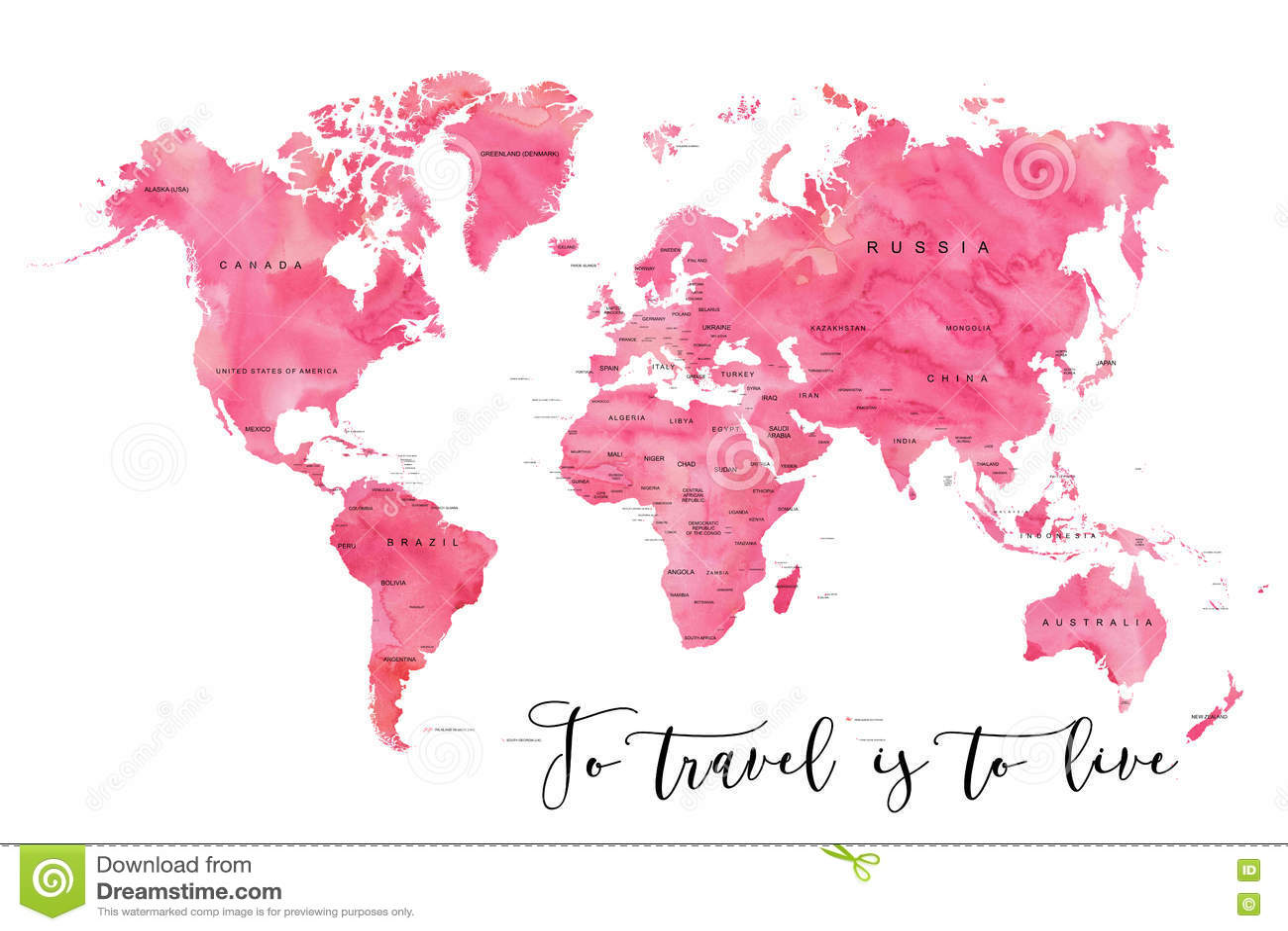 Weltkarte Gefullt Mit Rosa Watercoloureffekt Stock Abbildung