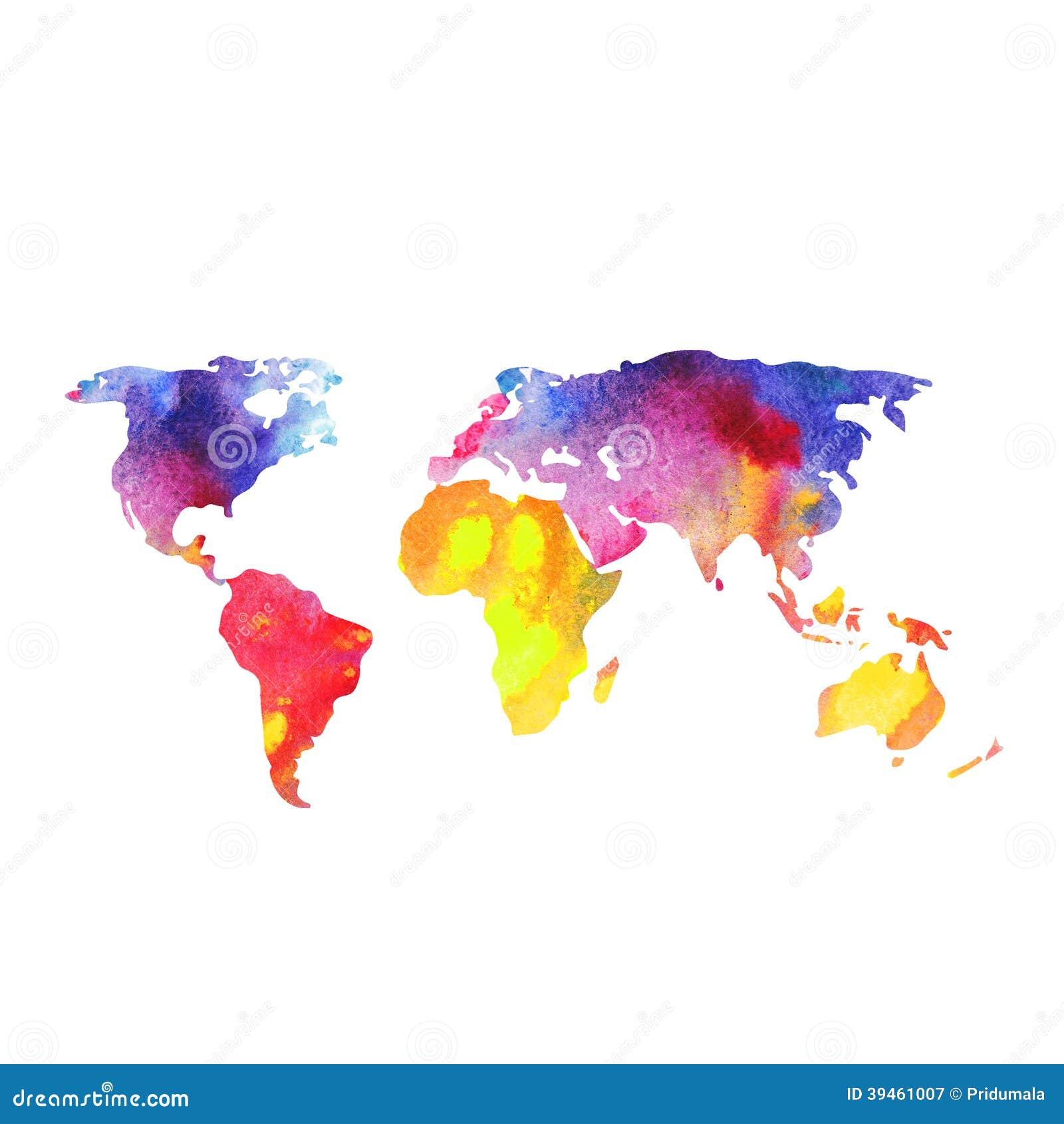 Weltkarte an gemalt mit aquarellen gemalte weltkarte for Weltkarte mit fotos
