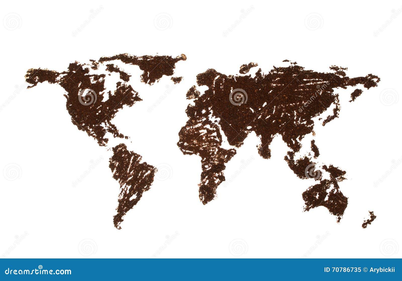 weltkarte gezeichnet mit kaffee stockbild bild von geographie umrei 70786735. Black Bedroom Furniture Sets. Home Design Ideas