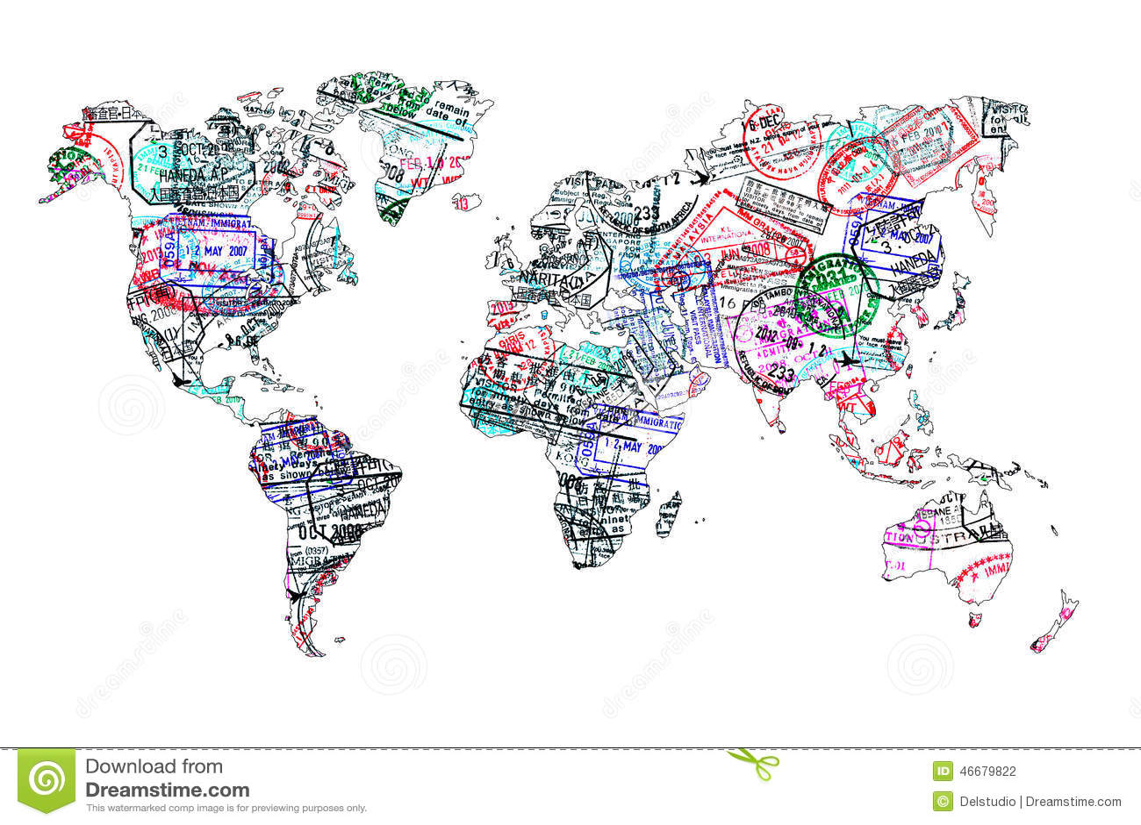 Weltkarte hergestellt mit Passstempeln