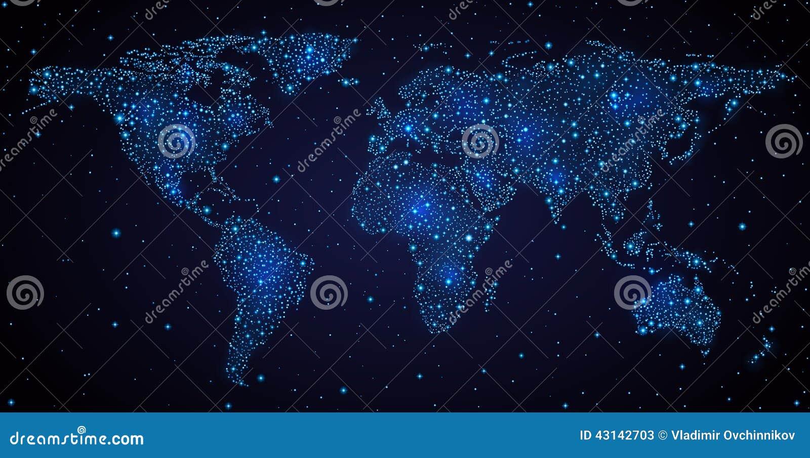Weltkarte im nächtlichen Himmel