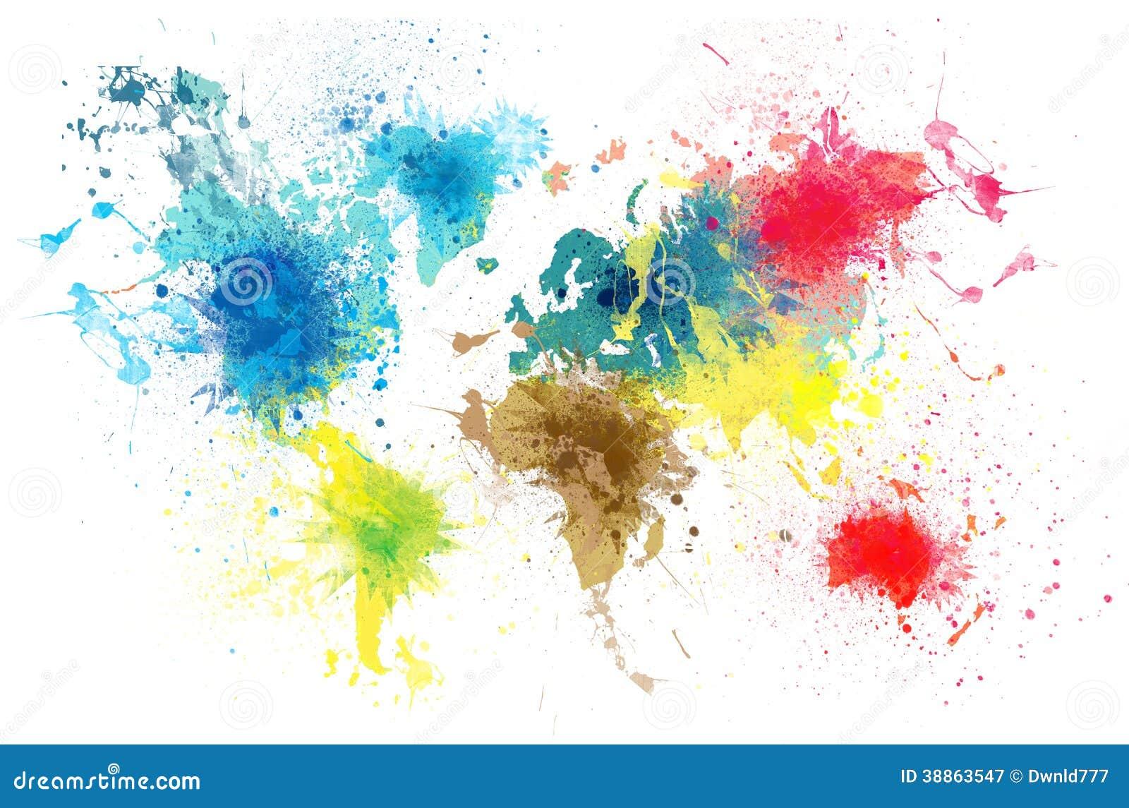 weltkarte mit farbe spritzt stock abbildung illustration von farbe exemplar 38863547. Black Bedroom Furniture Sets. Home Design Ideas
