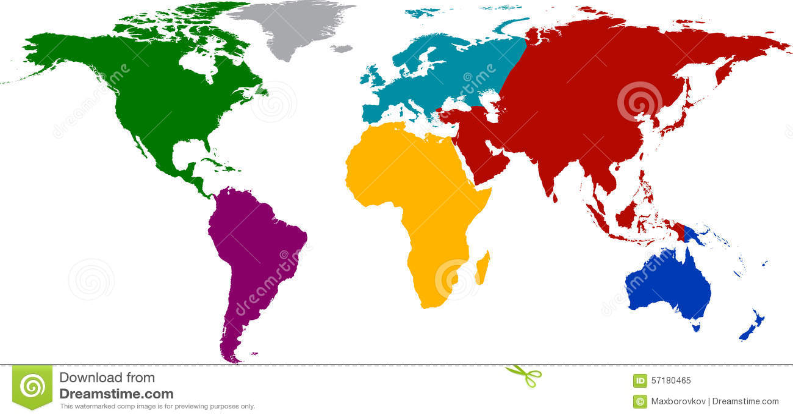 weltkarte mit farbigen kontinenten vektor abbildung illustration von gesch ft auslegung 57180465. Black Bedroom Furniture Sets. Home Design Ideas
