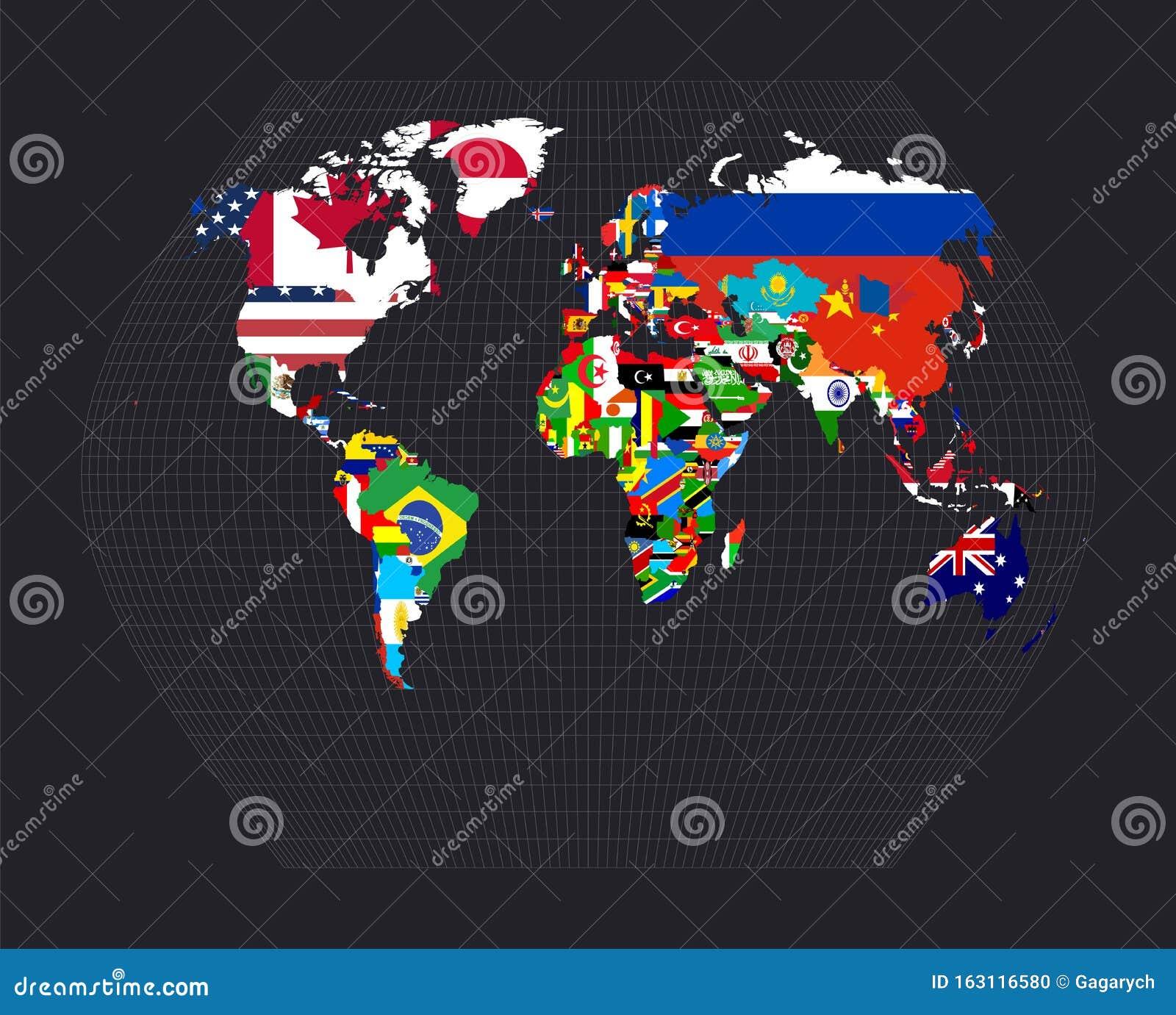 Weltkarte mit Flaggen vektor abbildung Illustration von