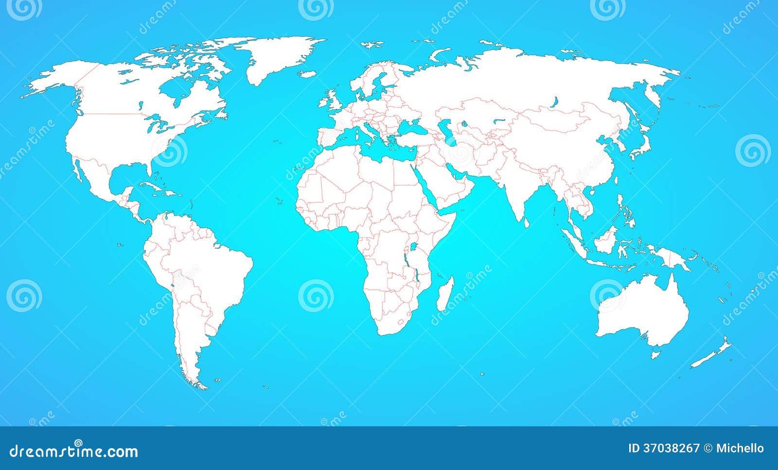 Weltkarte Mit Grenzen Zwischen Allen Landern Vektor Abbildung