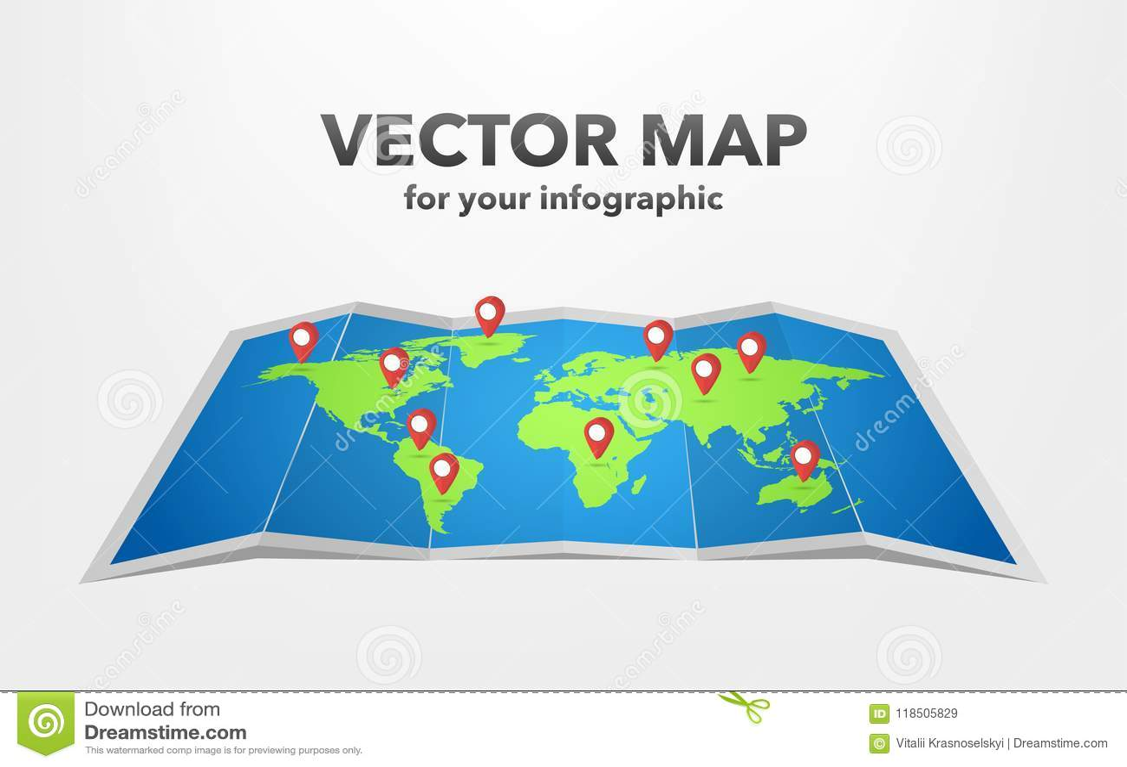 Weltkarte mit infographic Elementen, Vektorillustration
