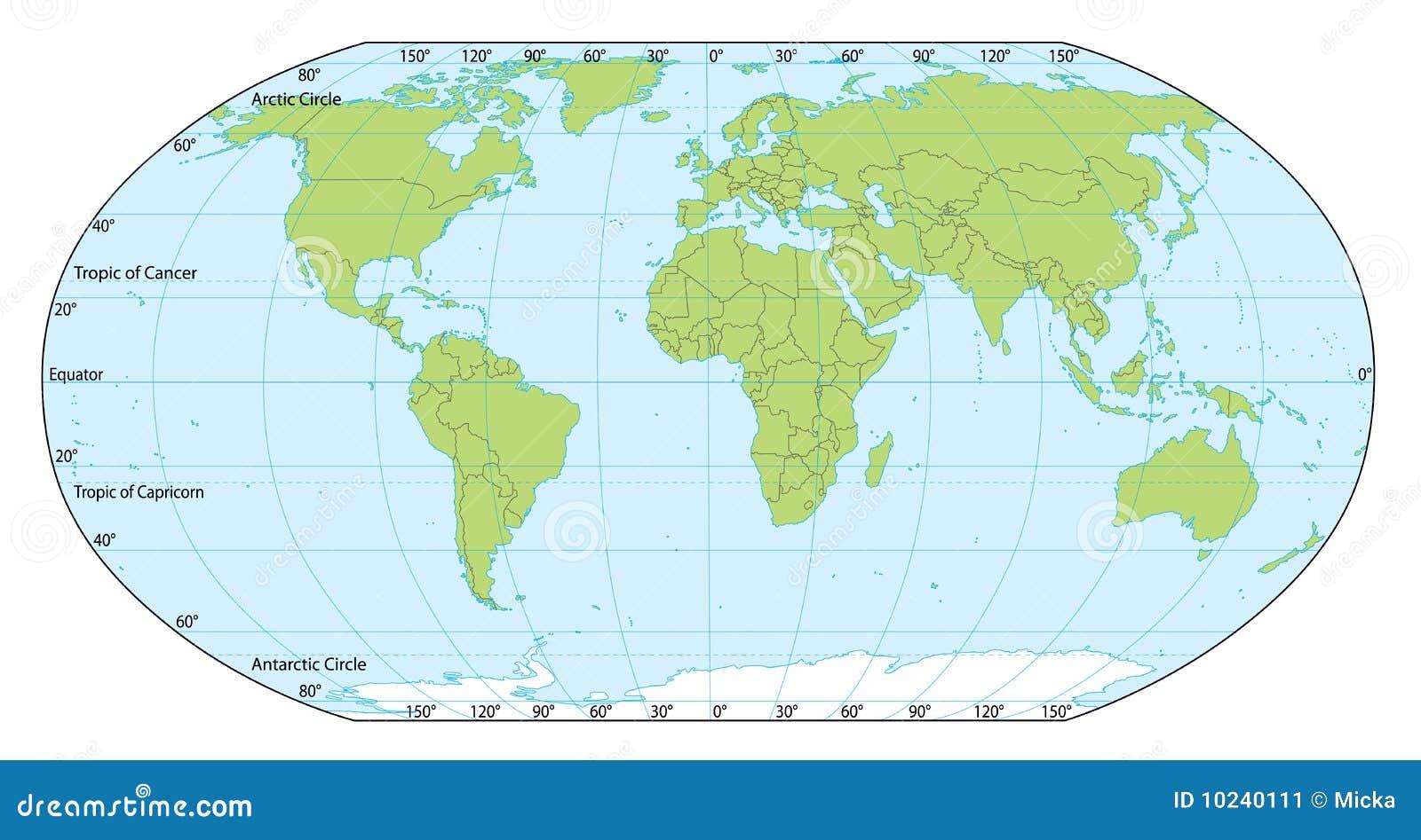 Koordinaten Karte.Weltkarte Mit Koordinaten Vektor Abbildung Illustration Von