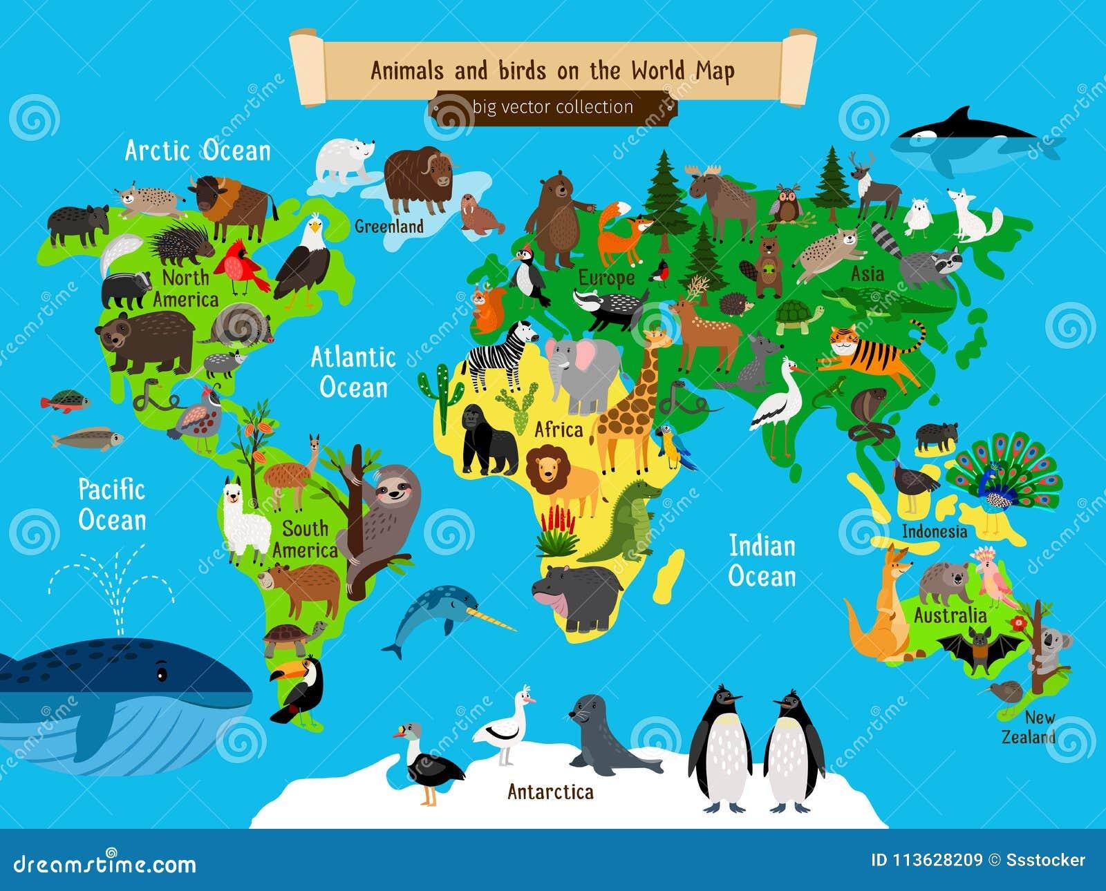 Weltkarte-Tiere Europa und Asien, Süden und Nordamerika-, Australien- und Afrika-Tiere zeichnen Vektorillustration auf