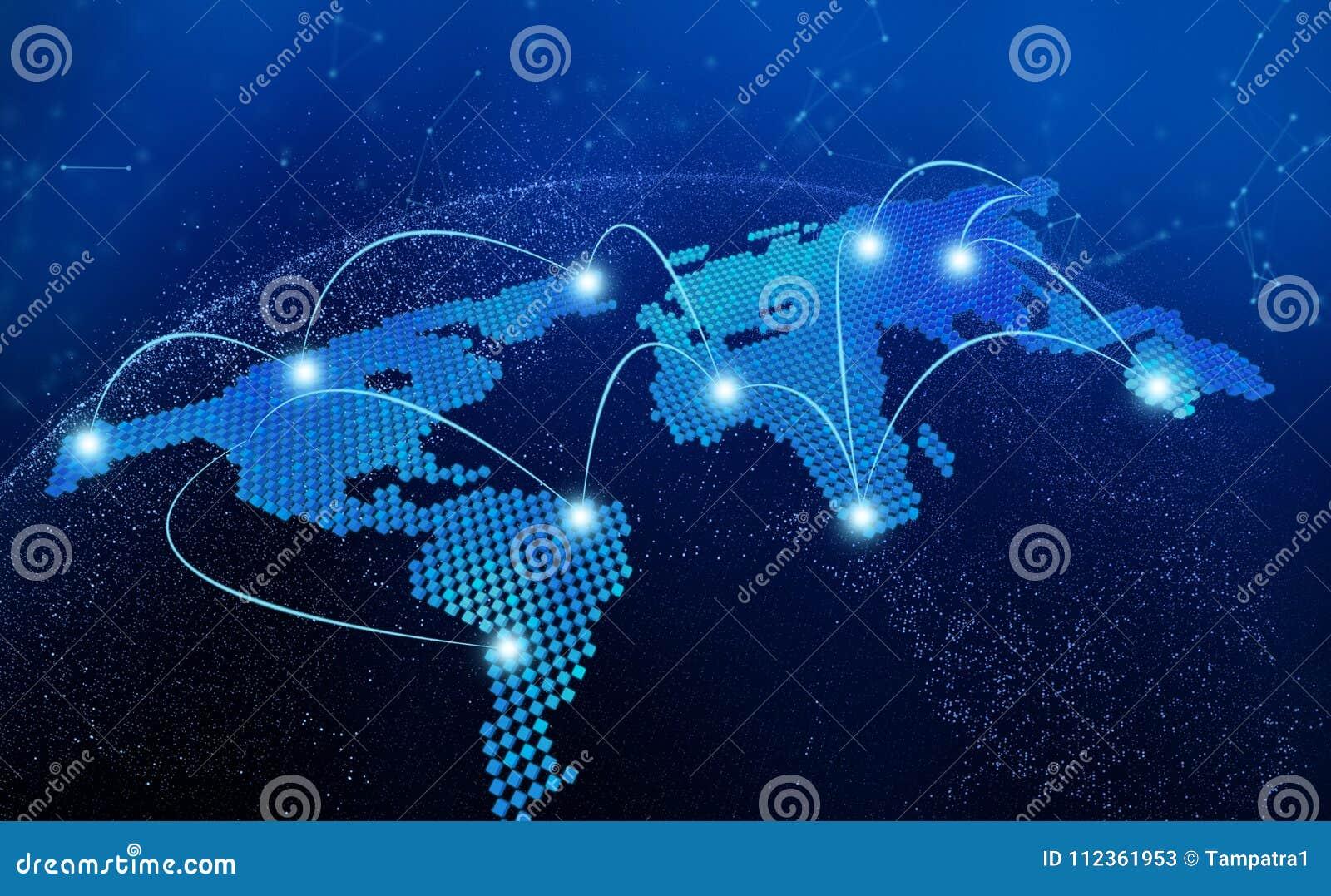 Weltkarte, Verbindung zeichnet im Technologiekonzept, 3d übertragen von