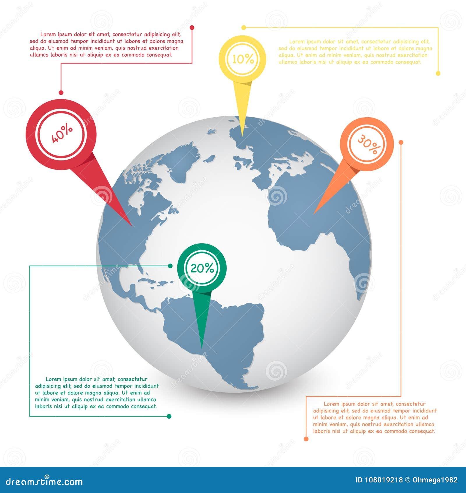 Weltkartekugel-Informationsgraphik für Kommunikationskonzept