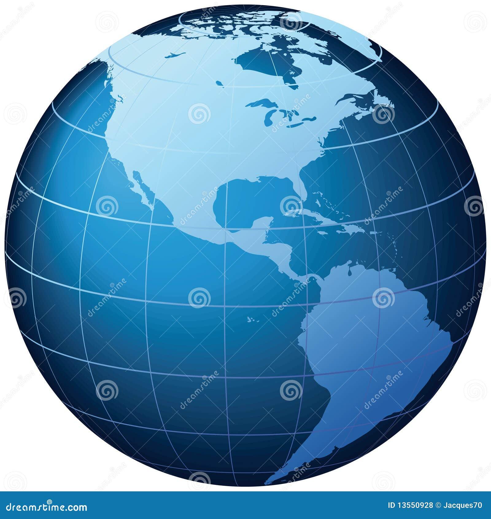 Weltkugel - USA-Ansicht - Vektor