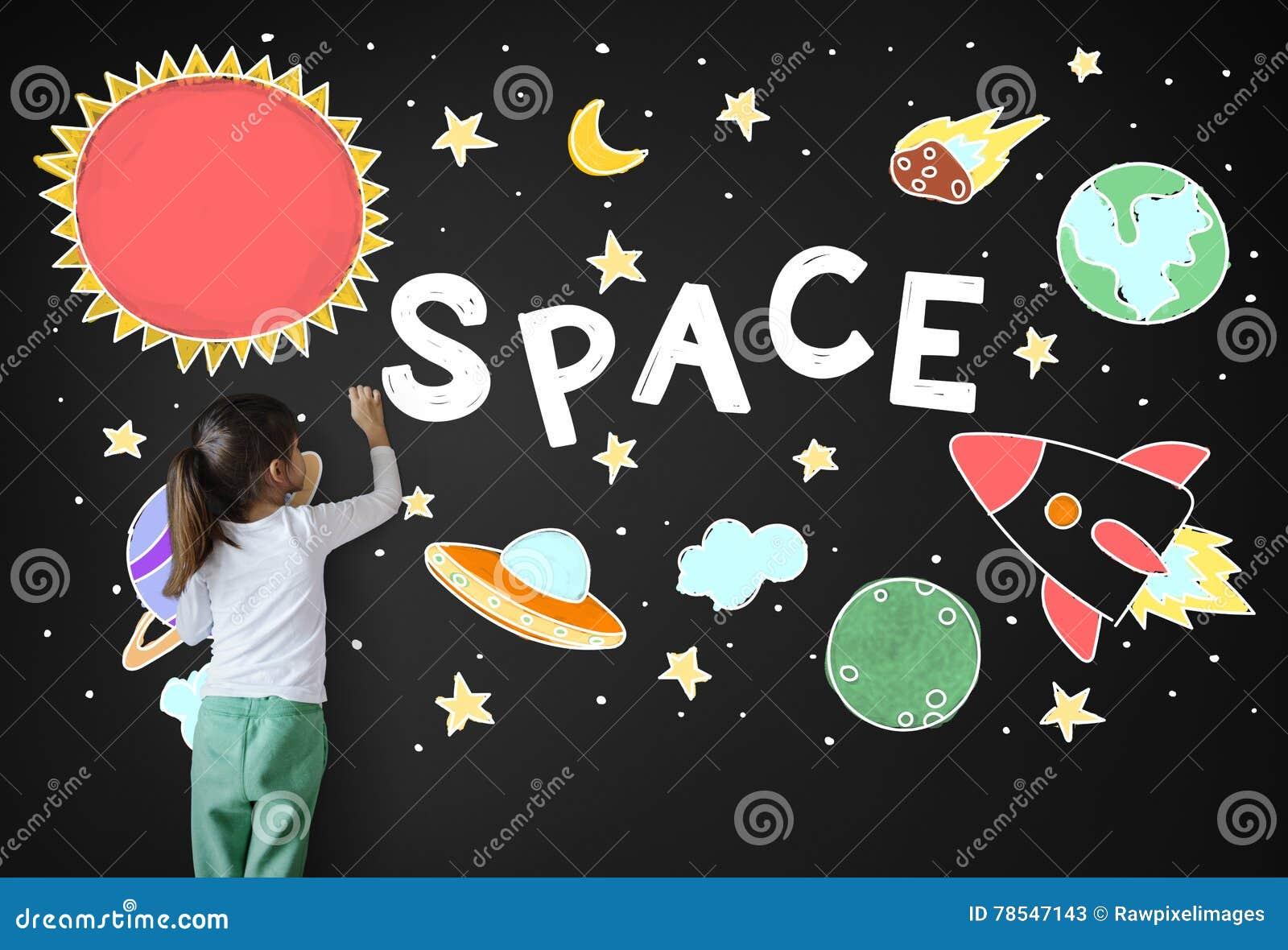 Weltraum-Ikonen, Die Grafik-Konzept Zeichnen Stockbild - Bild von ...