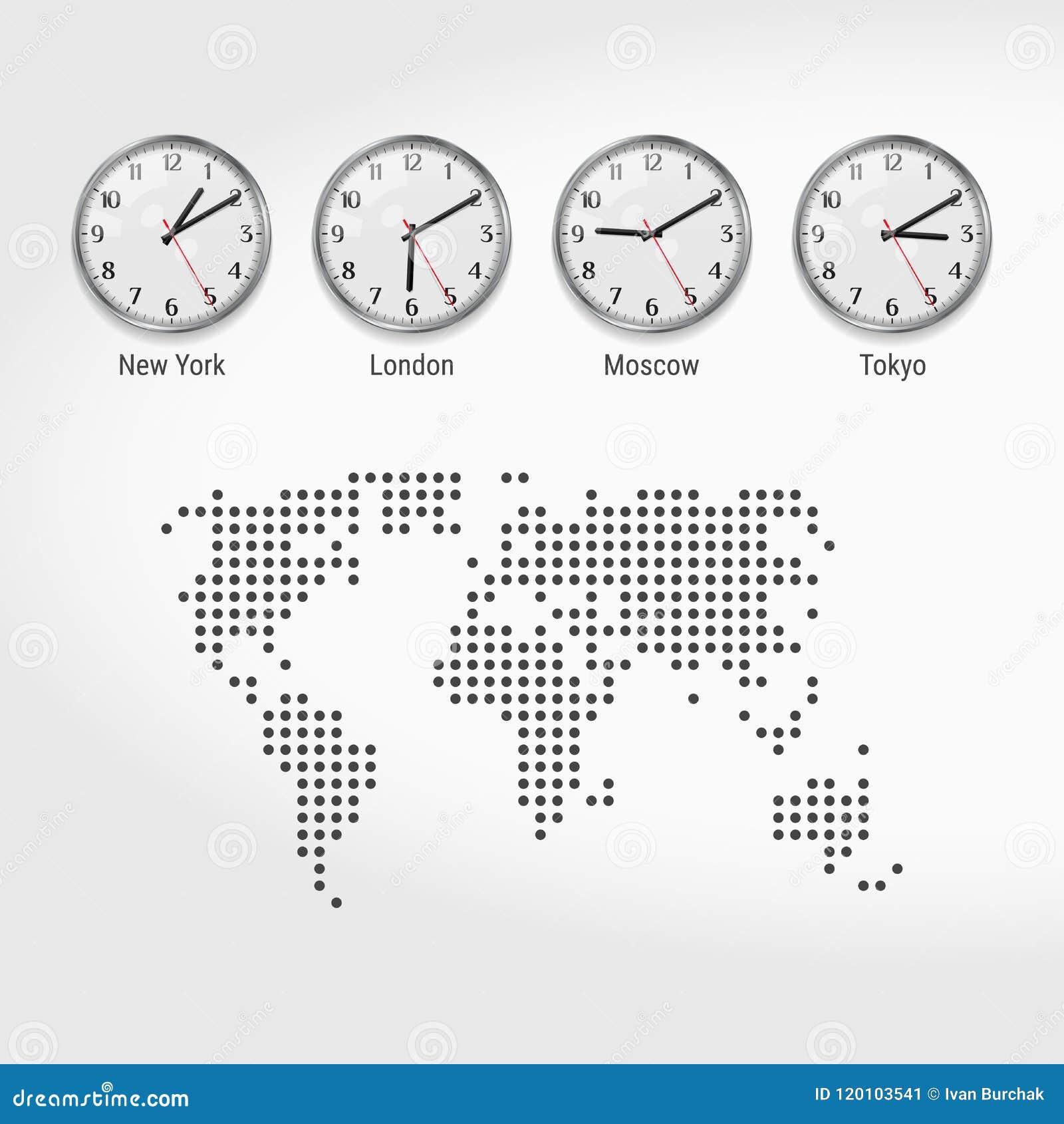 Weltzeit Zonen Uhren Aktuelle Uhrzeit in Den Berühmten Städten ...