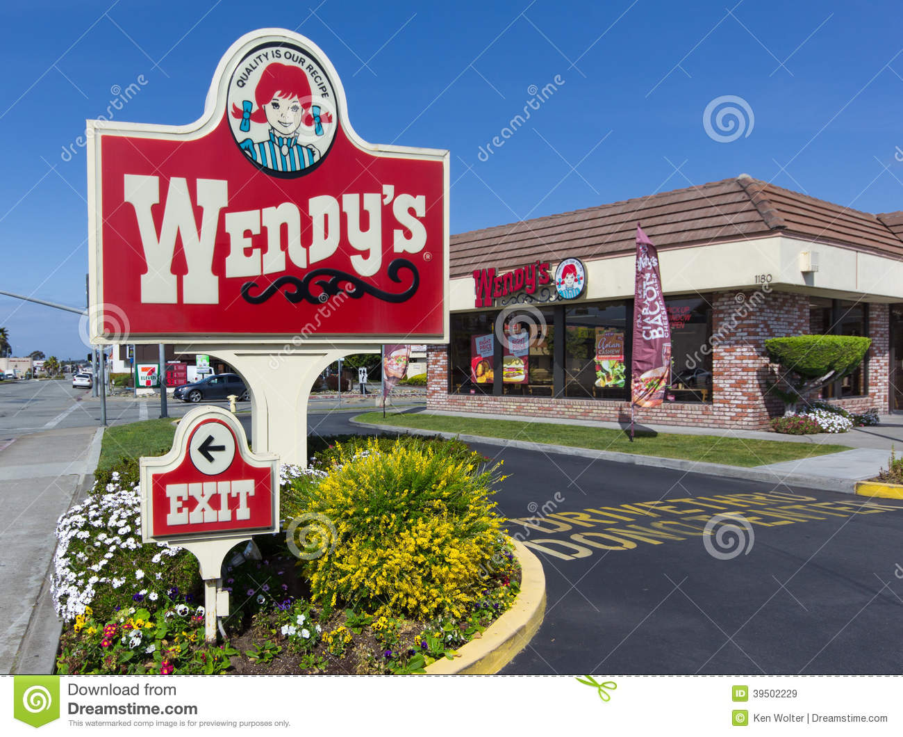 Wendy s fast food restaurant exterior and sign.