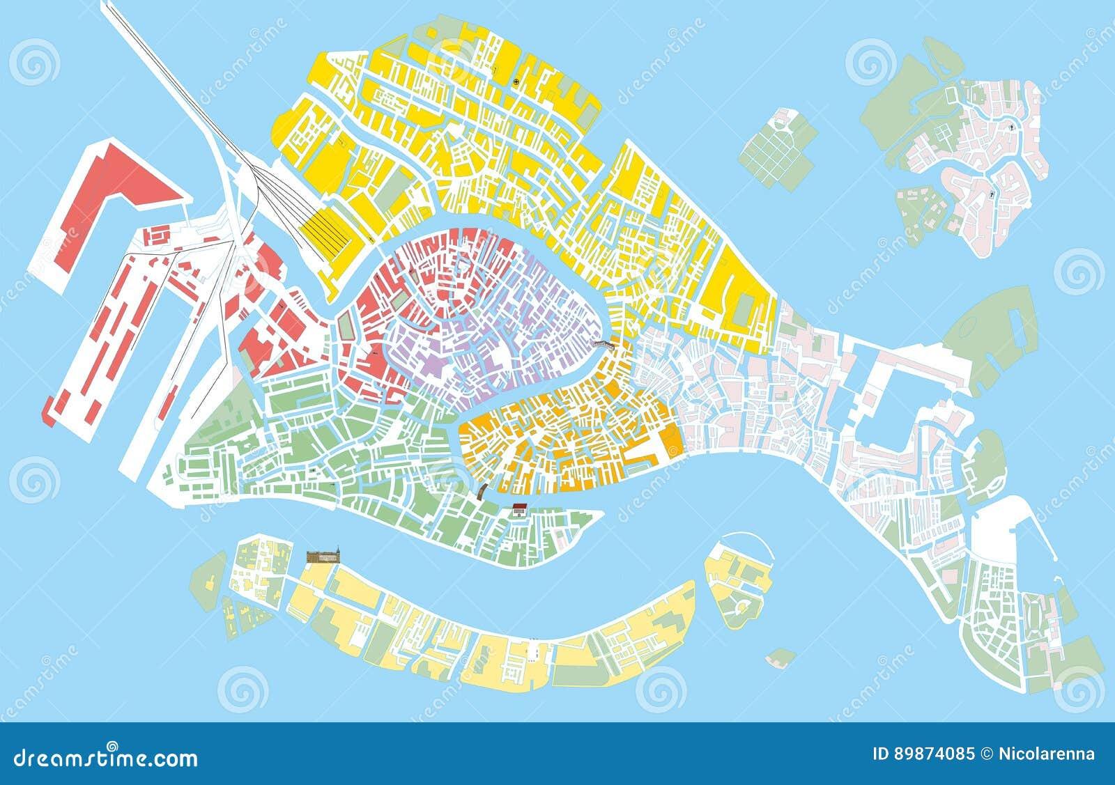 Wenecja Koloru Wektorowa Mapa Ilustracja Wektor Ilustracja