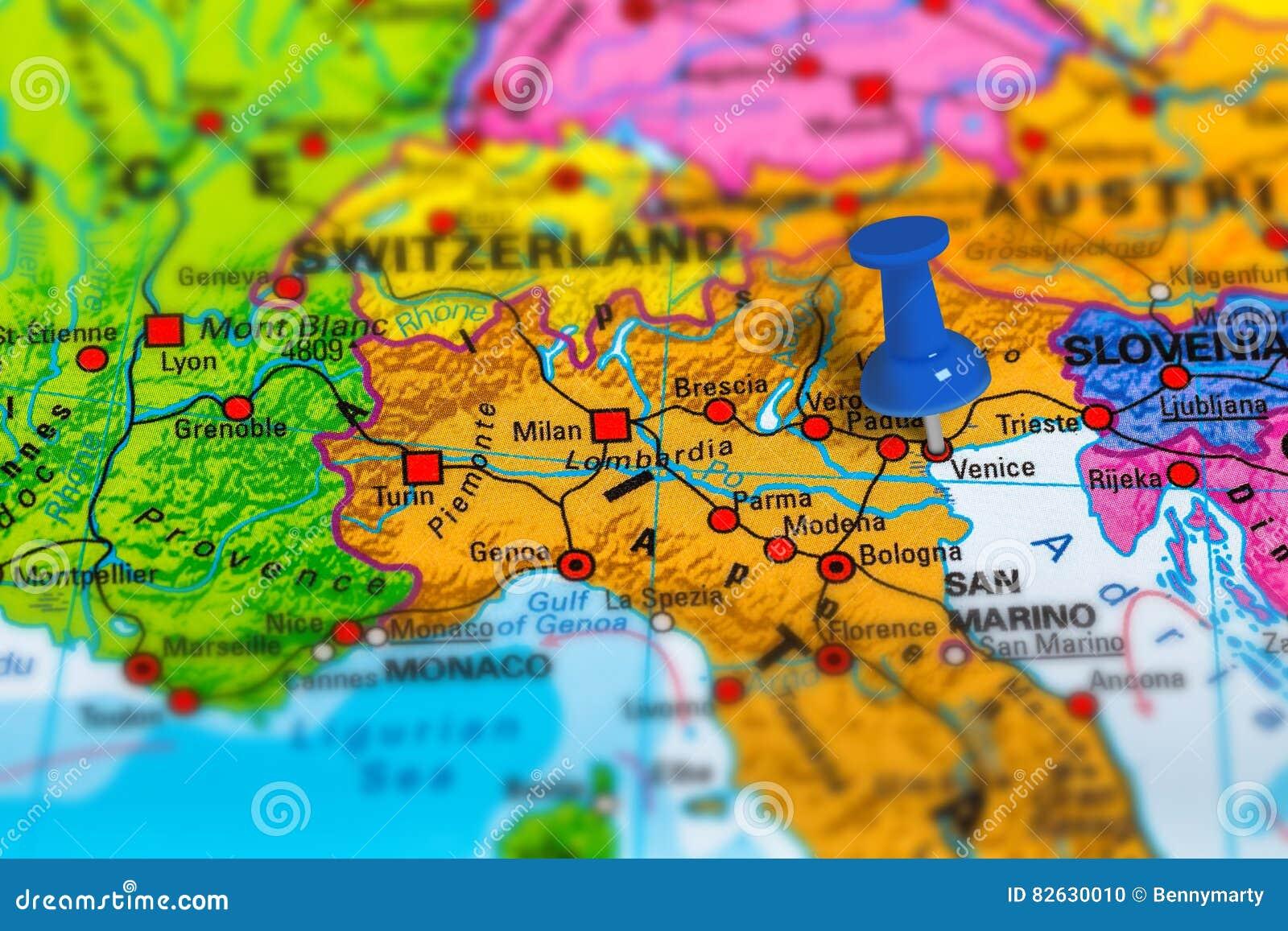 Wenecja Wlochy Mapa Zdjecie Stock Obraz Zlozonej Z Kartografia