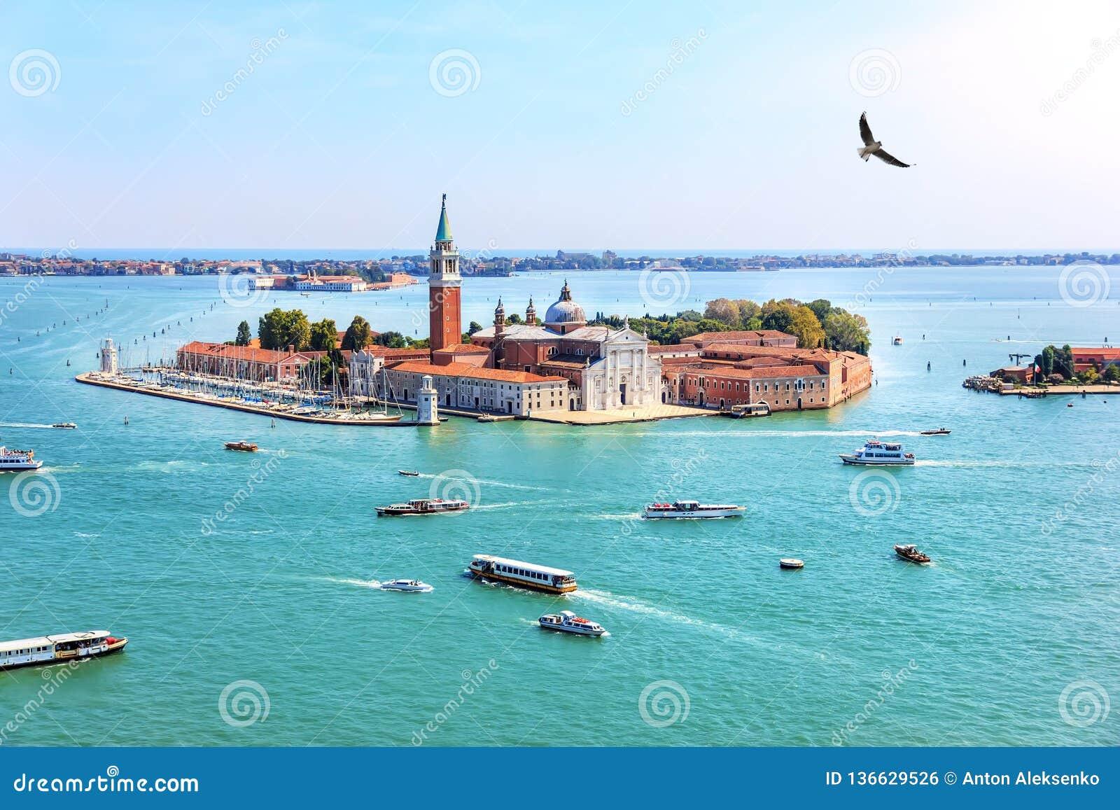 Wenecja wyspa San Giorgio Maggiore, Włochy, piękny widok z lotu ptaka