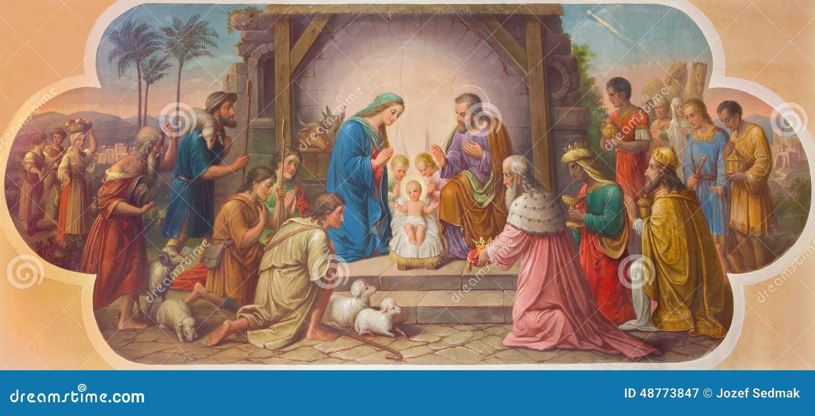 Wenen - Fresko van Geboorte van Christusscène door Josef Kastner ouder van 20 cent in Erloserkirche-kerk