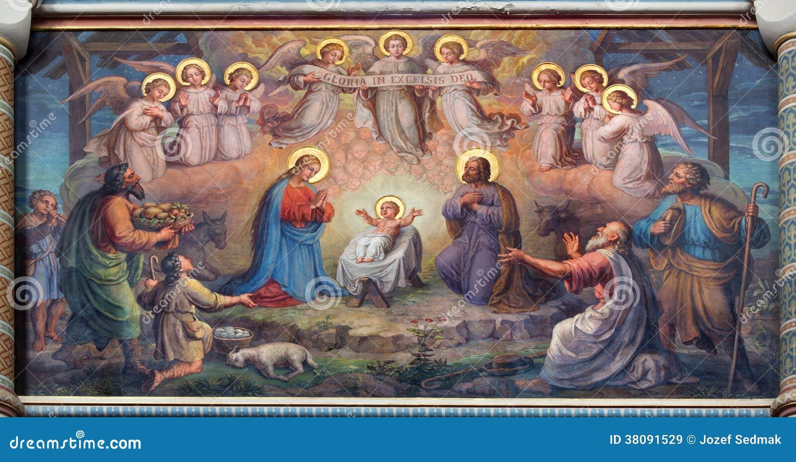 Wenen - Fresko van Geboorte van Christusscène door Josef Kastner vanaf 1906 - 1911 in Carmelites-kerk in Dobling.