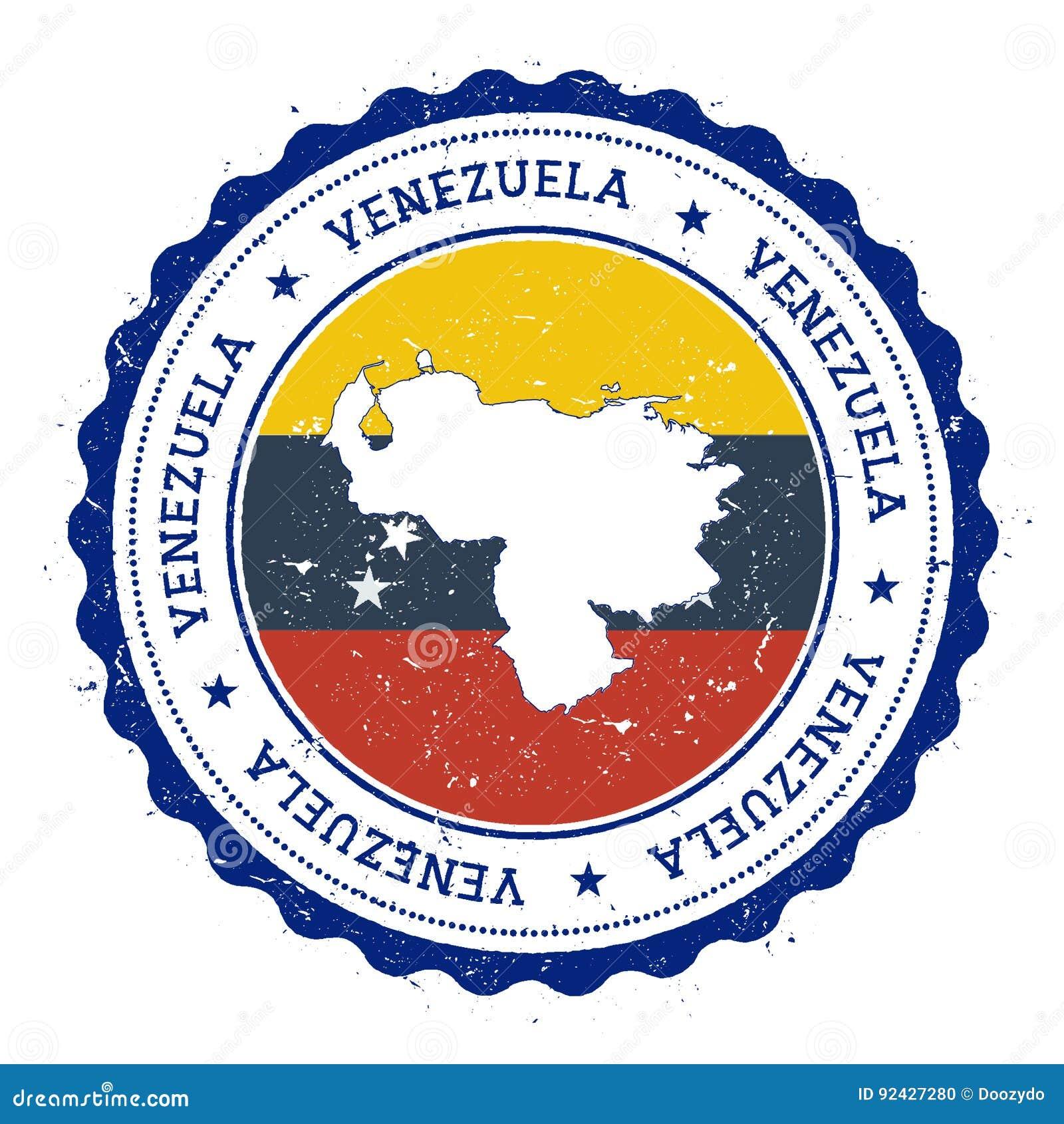 Wenezuela, Bolivarian mapa wewnątrz i flaga republika