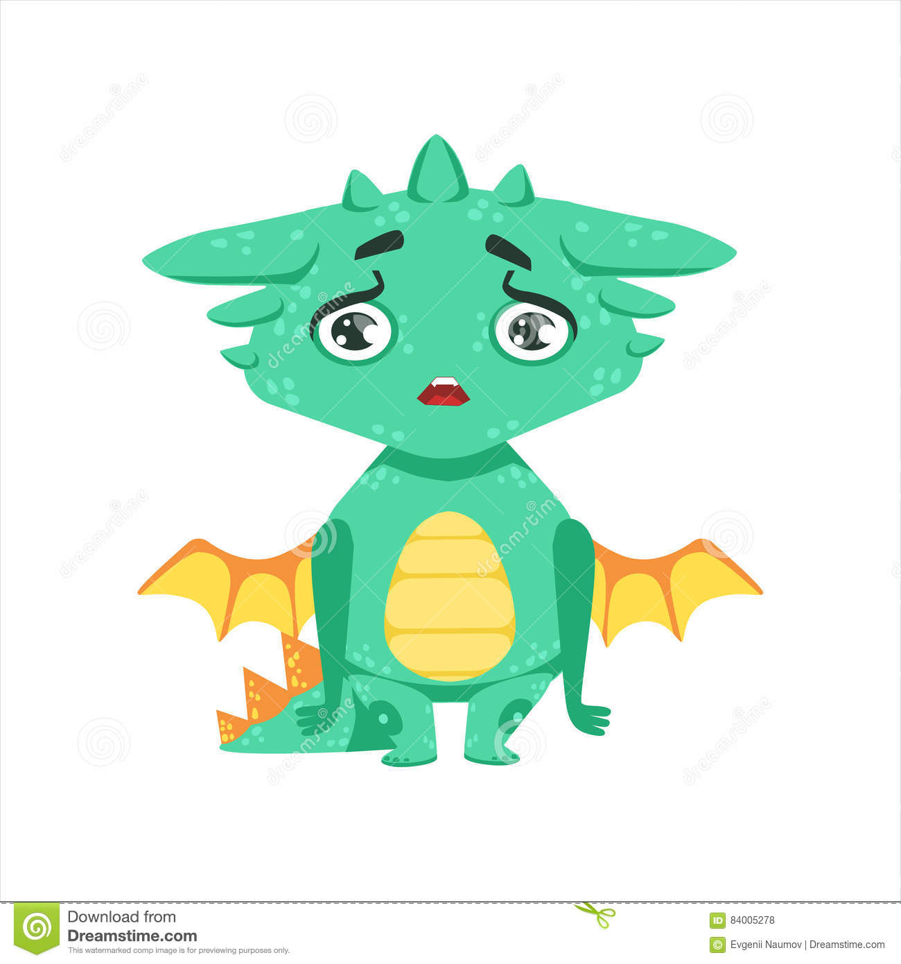 Wenig Anime Art Baby Dragon Upset And Disappointed Cartoon Charakter Emoji Illustration Vector Kindische Emoticon Zeichnung Mit Fantasie Drache Ahnlichem