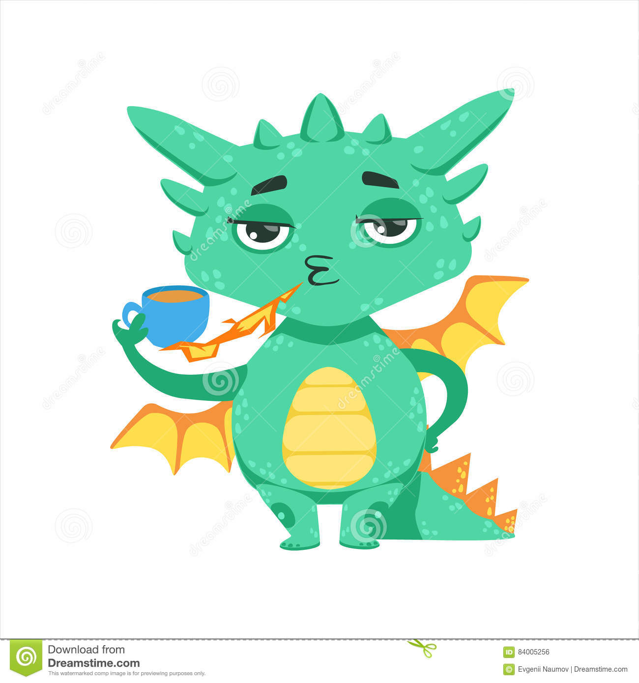 Wenig Anime Art Baby Dragon Warming Up Tea With Feuer Zeichentrickfilm
