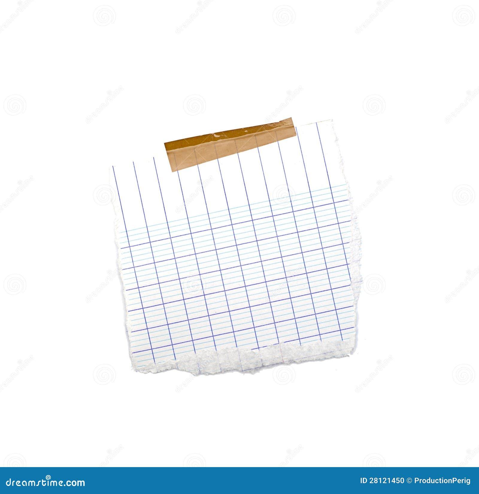 Wenig Blatt Papier hielt durch einen Kleber an