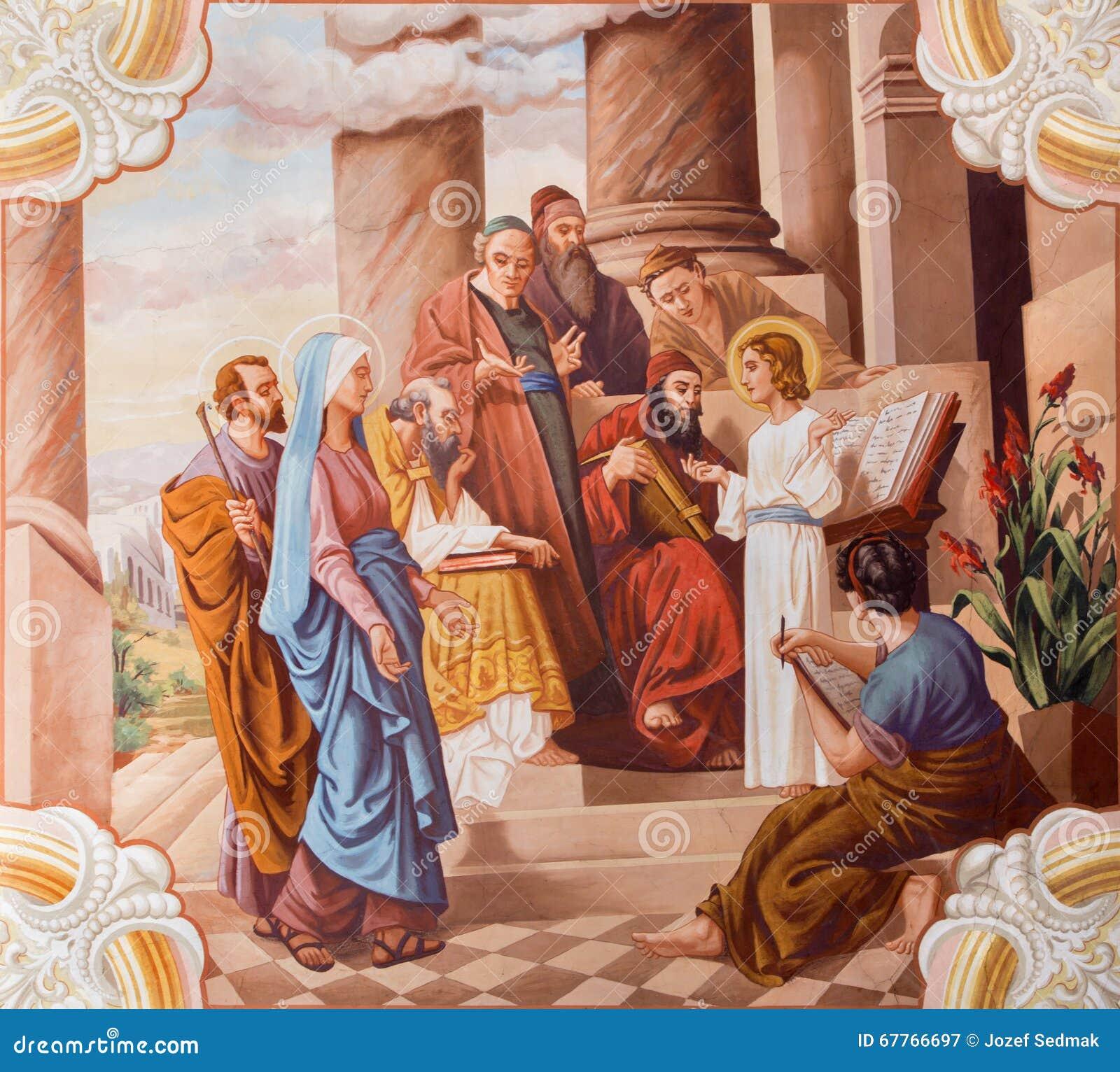 Wenig Jesus-Unterricht im Tempel Fresko von 20 cent