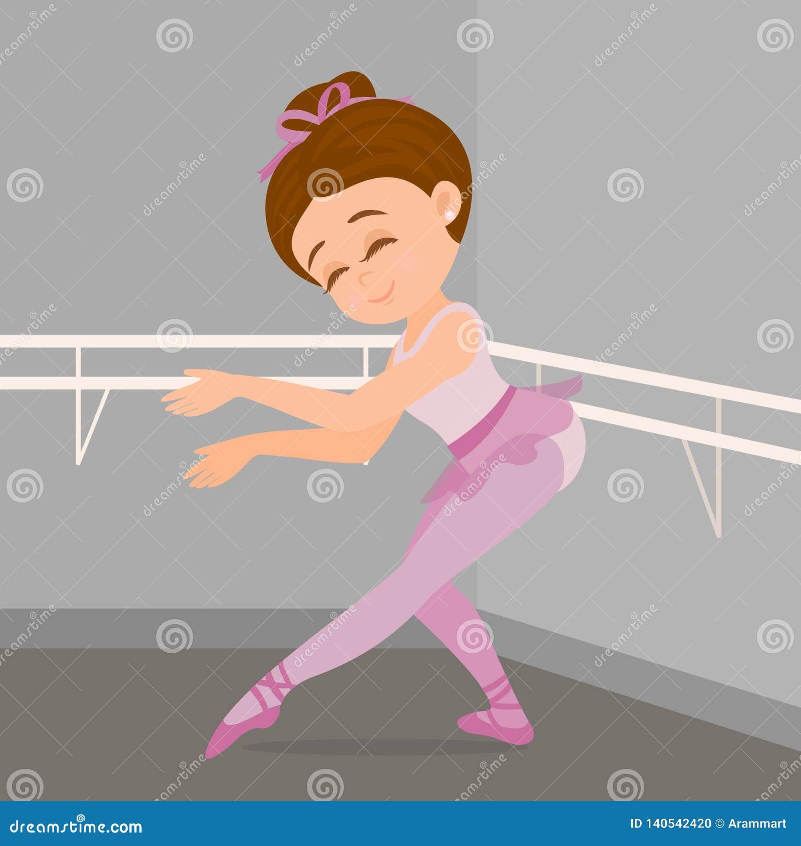 Wenig Mädchen, das Ballettschritte in ihrer Tanzakademie durchführt