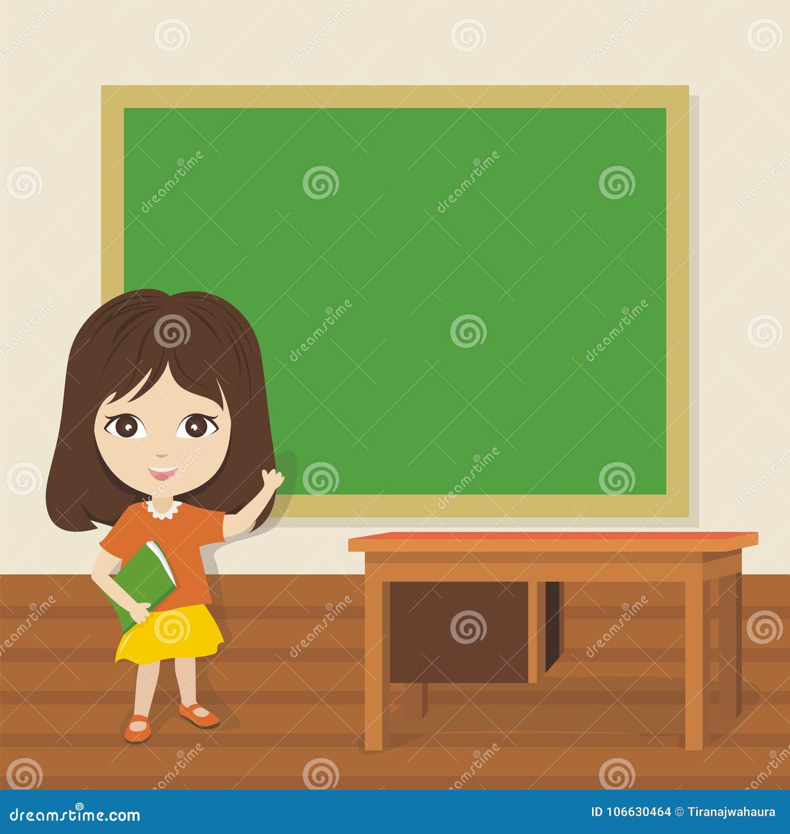 Wenig Schulmädchen, das leere Tafel zeigt