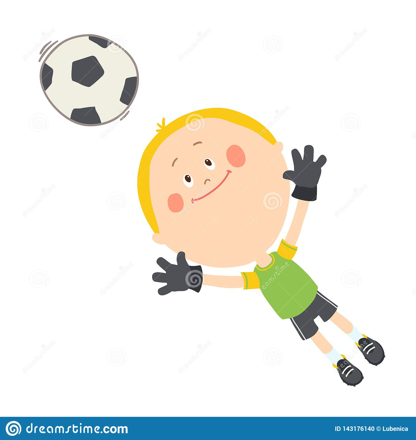 Wenig Torhüter, der einen Fußball fängt Netter Junge, der Fußball auf dem Fußballplatz spielt Gl?ckliches Kind, das mit einem Bal