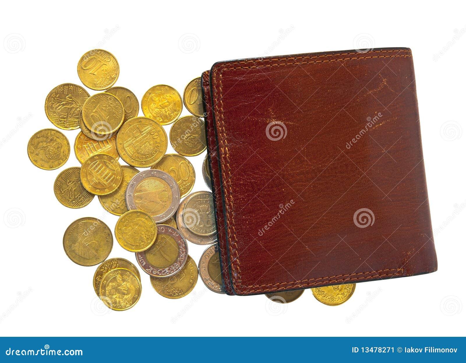 Wenige Münzen Und Mappe Stockbild Bild Von Papier Europäisch