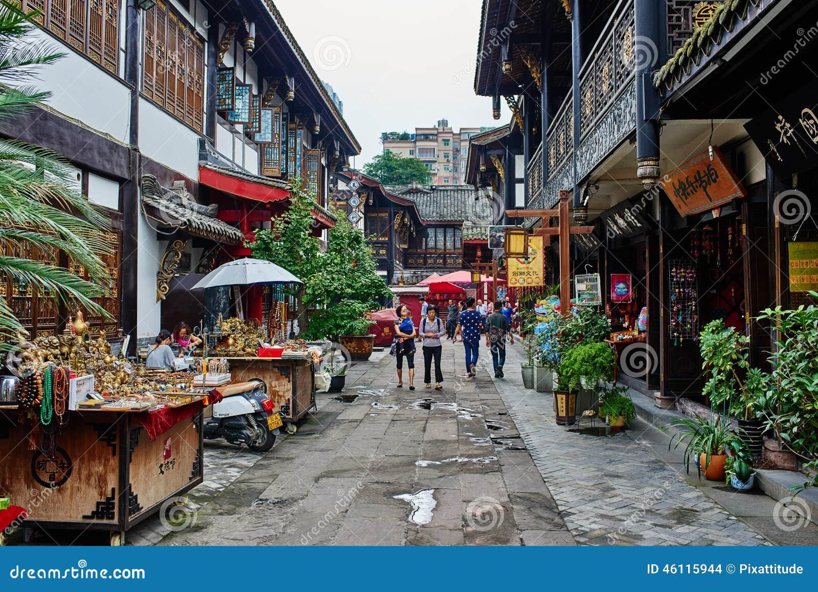 Wenshu-Kloster-Fußgängerzone in Chengdu Sichuan China
