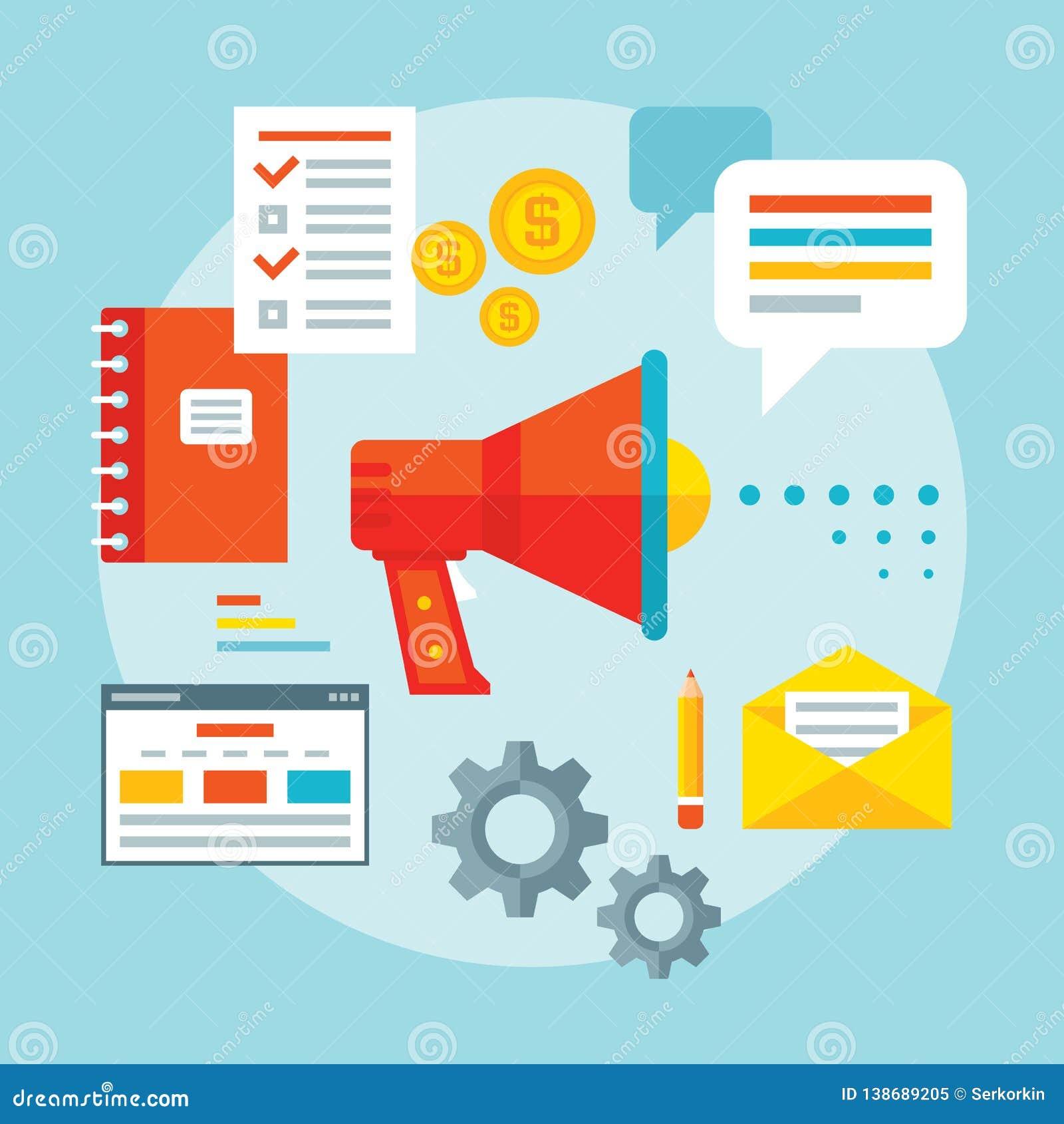 Werbung der Förderungskonzept-Vektorillustration in der flachen Entwurfsart Informationsanalyse Moderne Geschäftslösungen