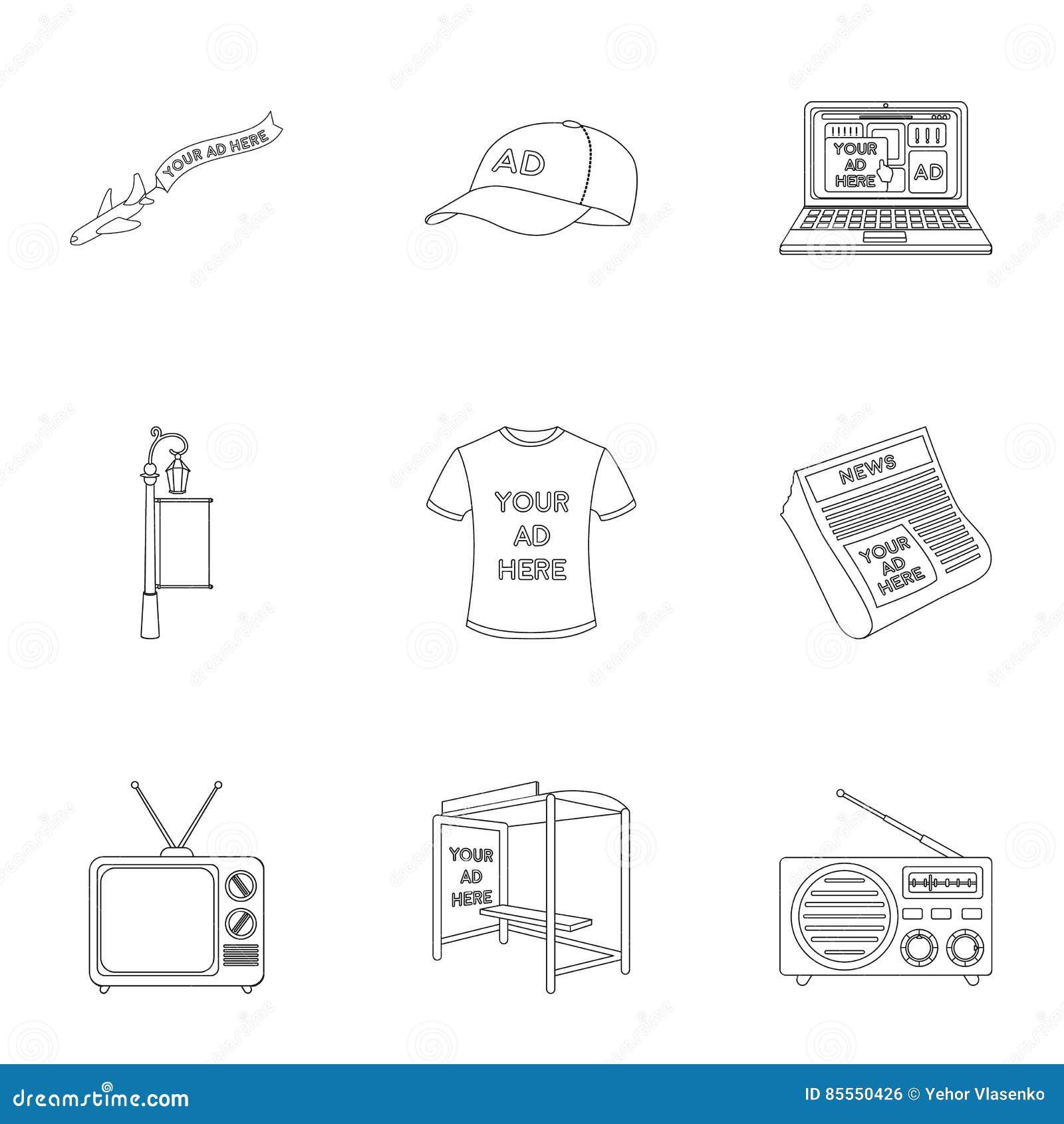 Werbung von gesetzten Ikonen in der Entwurfsart Große Sammlung der Werbungsvektorsymbol-Vorratillustration
