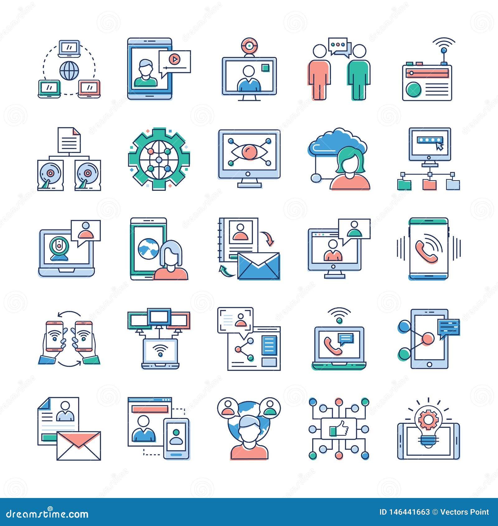 Werbungs-, Kommunikations-und Vernetzungs-Ikonen-Sammlung