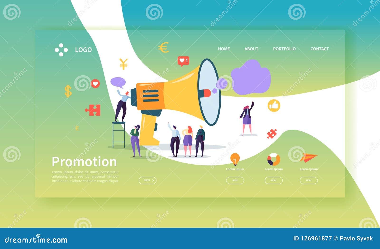 Werbungs-und Förderungs-Landungs-Seiten-Schablone Promo-Marketing-Website-Plan mit flachem Leute-Charakter-Megaphon