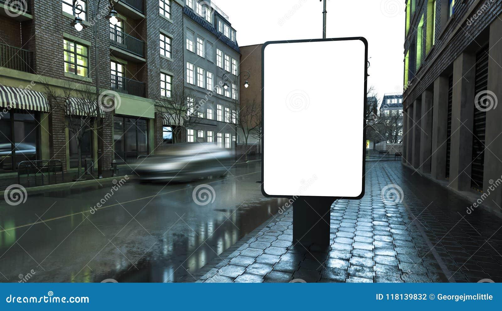 Werbungsanschlagtafel auf Stadtstraße am Abend