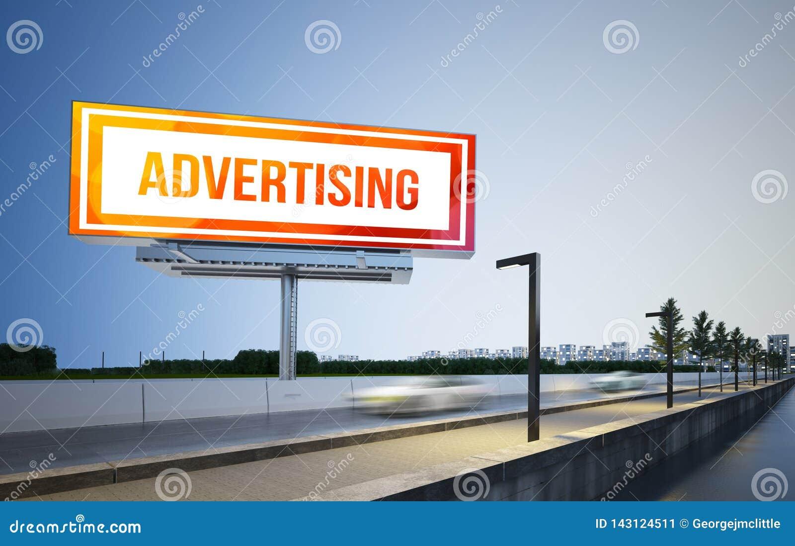 Werbungsanschlagtafelmodell auf Landstraße